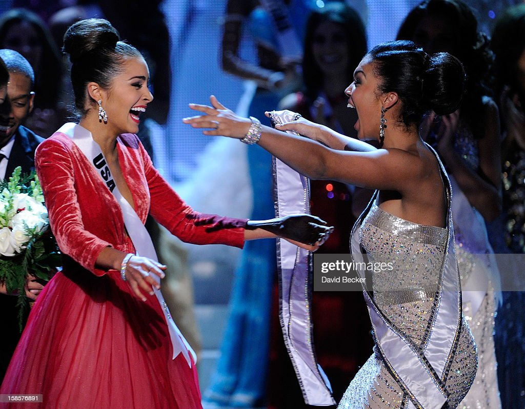 Miss USA 2012 Olivia Culpo reacts after being named the 2012 Miss Universe as Leila Lopes Miss Universe 2011 embraces her during the 2012 Miss...