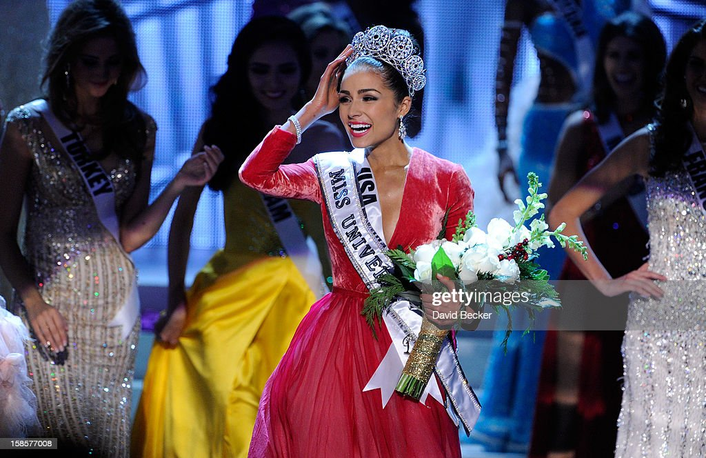 Miss USA 2012, Olivia Culpo, reacts after being named the 2012 Miss Universe during the 2012 Miss Universe Pageant at PH Live at Planet Hollywood Resort & Casino on December 19, 2012 in Las Vegas, Nevada.
