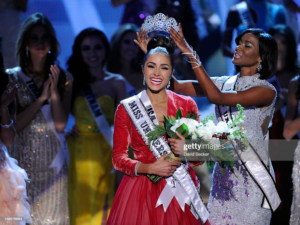 Miss USA 2012 Olivia Culpo reacts as she is crowned the 2012 Miss Universe by Leila Lopes Miss Universe 2011 during the 2012 Miss Universe Pageant at...