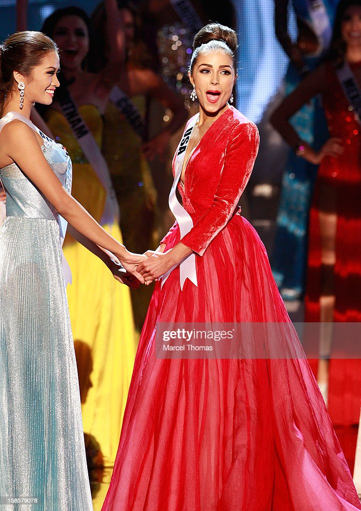 Miss USA 2012 <a gi-track='captionPersonalityLinkClicked' href=/galleries/search?phrase=Olivia+Culpo&family=editorial&specificpeople=9194131 ng-click='$event.stopPropagation()'>Olivia Culpo</a> (R) reacts as she is named the 2012 Miss Universe during the 2012 Miss Universe Pageant at Planet Hollywood Resort & Casino on December 19, 2012 in Las Vegas, Nevada.