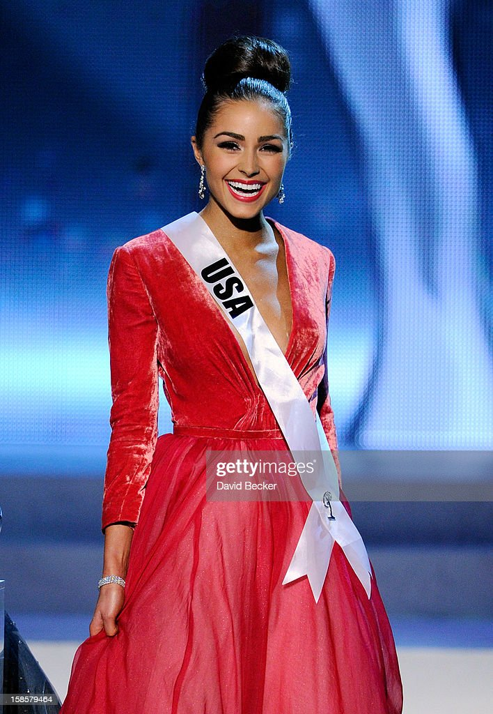 Miss USA 2012, Olivia Culpo, smiles after answering a question during the interview portion of the 2012 Miss Universe Pageant at PH Live at Planet Hollywood Resort & Casino on December 19, 2012 in Las Vegas, Nevada. Culpo went on to be crowned the new Miss Universe.