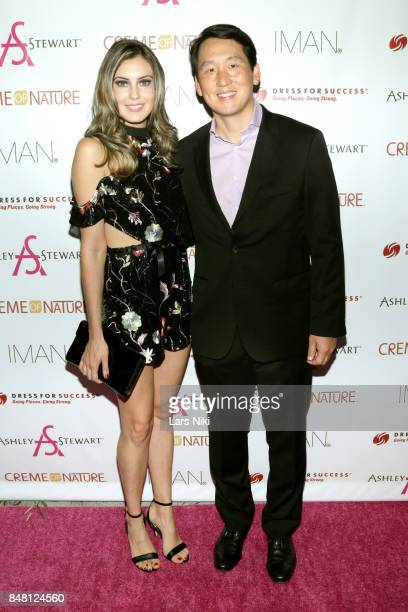 Miss USA 2013 Erin Brady and Ashley Stewart Chairman and CEO James Rhee attend Finding Ashley Stewart 2017 at Kings Theatre on September 16 2017 in