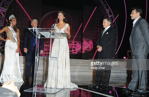 Miss USA 2013 Erin Brady Donald Trump Miss Universe 2012 Olivia Culpo Aras Agalarov and Emin Agalarov attend a news conference following the 2013...