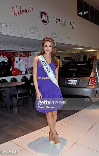 Miss USA 2014 Nia Sanchez appears at an official Miss Nevada USA recruitment event at Towbin Fiat of Las Vegas on July 19 2014 in Las Vegas Nevada