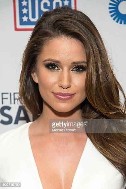 Miss USA 2014 Nia Sanchez attends the 54th USO Armed Forces Gala and Gold Medal Dinner at The New York Marriott Marquis on December 9 2015 in New...