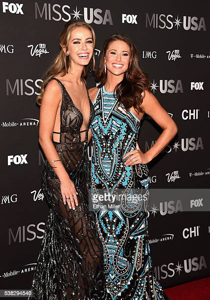 Miss USA 2015 Olivia Jordan and Miss USA 2014 Nia Sanchez attend the 2016 Miss USA pageant at TMobile Arena on June 5 2016 in Las Vegas Nevada