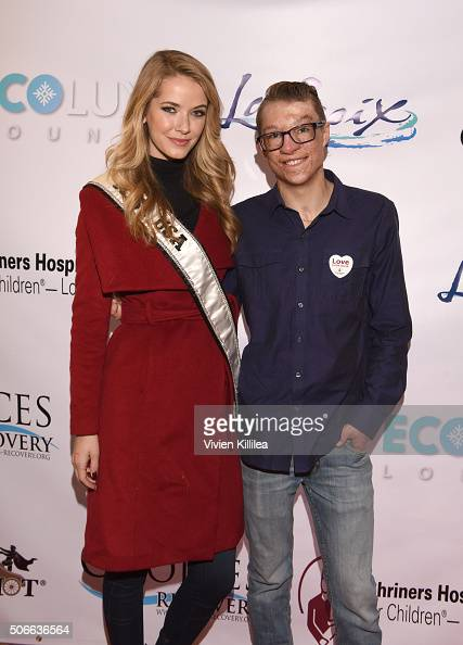 Miss USA 2015 Olivia Jordan and Shriners Hospitals for Children Patient Ambassador Marius Woodward attend the EcoLuxe Lounge at Sundance16 on January...