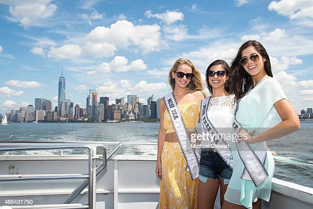 Miss USA 2015 Olivia Jordan Miss Teen USA 2015 Katherine Haik and Miss Universe 2014 Paulina Vega attend the Ride of Fame City Sightseeing Cruise at...