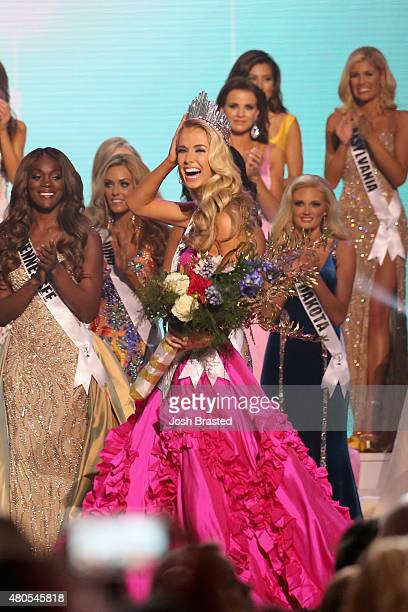 Miss USA 2015 Olivia Jordan of Oklahoma is crowned at 2015 Miss USA Pageant Only On ReelzChannel at The Baton Rouge River Center on July 12 2015 in...