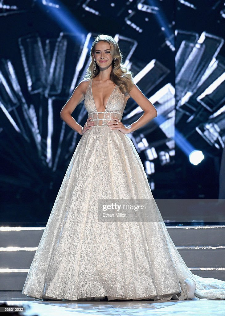 Miss USA 2015 Olivia Jordan speaks onstage during the 2016 Miss USA pageant at T-Mobile Arena on June 5, 2016 in Las Vegas, Nevada.