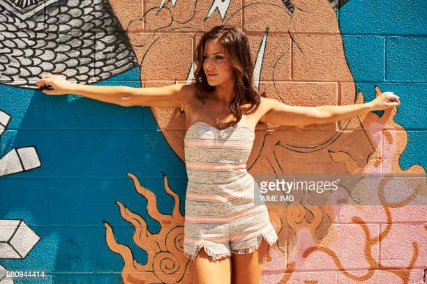 Miss USA 2017 contestant Sarah Mousseau Miss New Hampshire USA 2017 poses for a photo in Downtown Las Vegas on May 6 2017 in Las Vegas Nevada