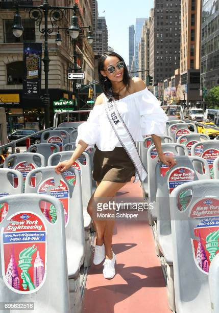Miss USA 2017 Kara McCullough poses for photos during a bus tour on June 13 2017 in New York City