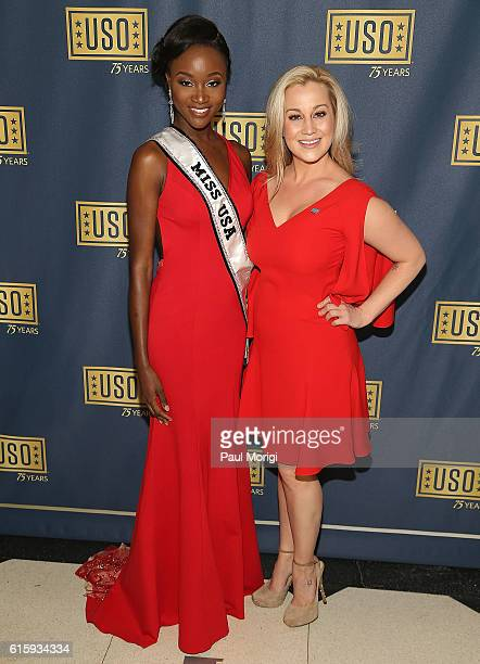 Miss USA Deshauna Barber and country music star Kellie Pickler attend the 2016 USO Gala on October 20 2016 at DAR Constitution Hall in Washington DC