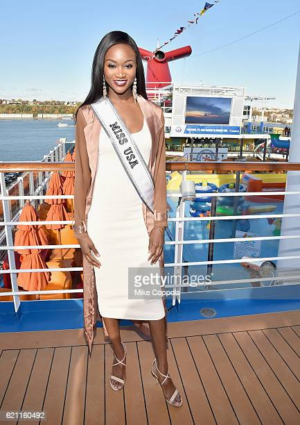 Miss USA Deshauna Barber attends the Carnival Vista US debut with Carrie Underwood and Godmother Miss USA to celebrate the HonorFamilyFun Campaign...