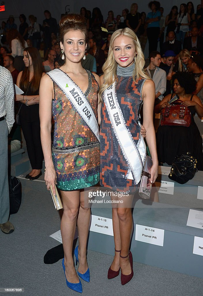 Miss USA Erin Brady (L) and Miss Teen USA <a gi-track='captionPersonalityLinkClicked' href=/galleries/search?phrase=Cassidy+Wolf&family=editorial&specificpeople=10468223 ng-click='$event.stopPropagation()'>Cassidy Wolf</a> attend the Custo Barcelona fashion show during Mercedes-Benz Fashion Week Spring 2014 at The Stage at Lincoln Center on September 8, 2013 in New York City.