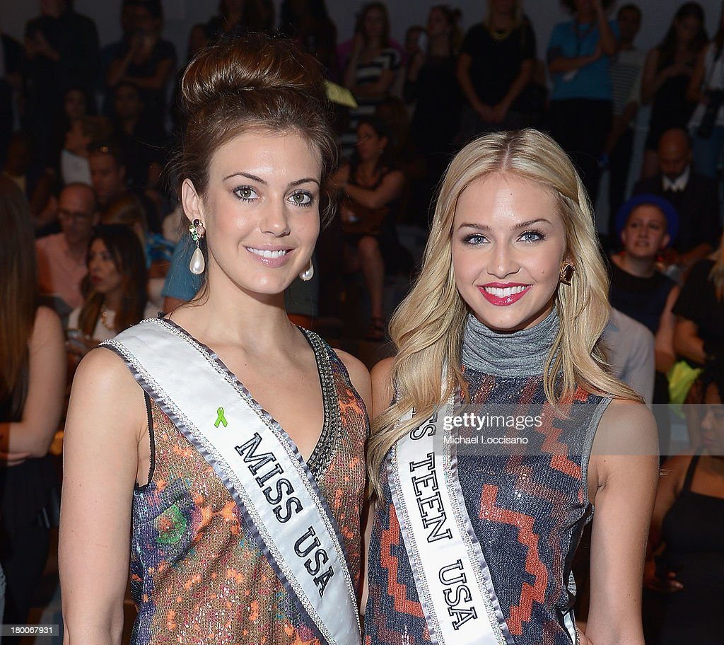 Miss USA Erin Brady (L) and Miss Teen USA Cassidy Wolf attend the Custo Barcelona fashion show during Mercedes-Benz Fashion Week Spring 2014 at The Stage at Lincoln Center on September 8, 2013 in New York City.