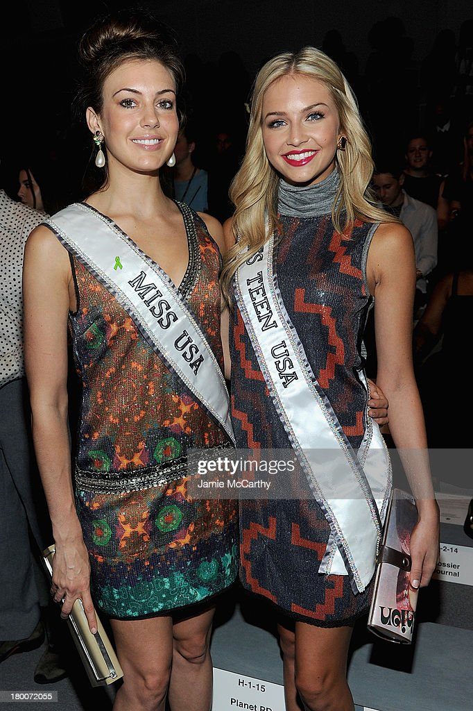 Miss USA Erin Brady (L) and Miss Teen USA <a gi-track='captionPersonalityLinkClicked' href=/galleries/search?phrase=Cassidy+Wolf&family=editorial&specificpeople=10468223 ng-click='$event.stopPropagation()'>Cassidy Wolf</a> attend the Custo Barcelona show during Spring 2014 Mercedes-Benz Fashion Week at The Stage at Lincoln Center on September 8, 2013 in New York City.