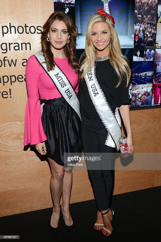 Miss USA Erin Brady and Miss Teen USAÊ<a gi-track='captionPersonalityLinkClicked' href=/galleries/search?phrase=Cassidy+Wolf&family=editorial&specificpeople=10468223 ng-click='$event.stopPropagation()'>Cassidy Wolf</a> attend Fall 2014 Mercedes - Benz Fashion Week on February 7, 2014 in New York City.