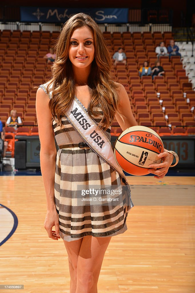 Miss USA Erin Brady poses for a photo prior to the 2013 Boost Mobile WNBA All-Star Game on July 27, 2013 at Mohegan Sun Arena in Uncasville, Connecticut.