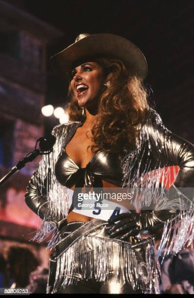 Miss USA Gretchen Polhemus poses in her Texas outfit during the 1989 Cancun Mexico live telecast of the Miss Universe Pageant Polhemus was second...