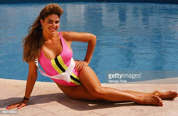 Miss USA Gretchen Polhemus poses on the beach during a 1989 Cancun Mexico photo shoot promoting the Miss Universe Pageant Polhemus was second...