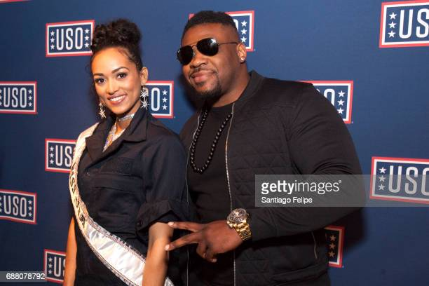 Miss USA Kara McCullough and Jarrell Miller attend Fleet Week NY 2017 Official KickOff Party at Hard Rock Cafe New York on May 24 2017 in New York...