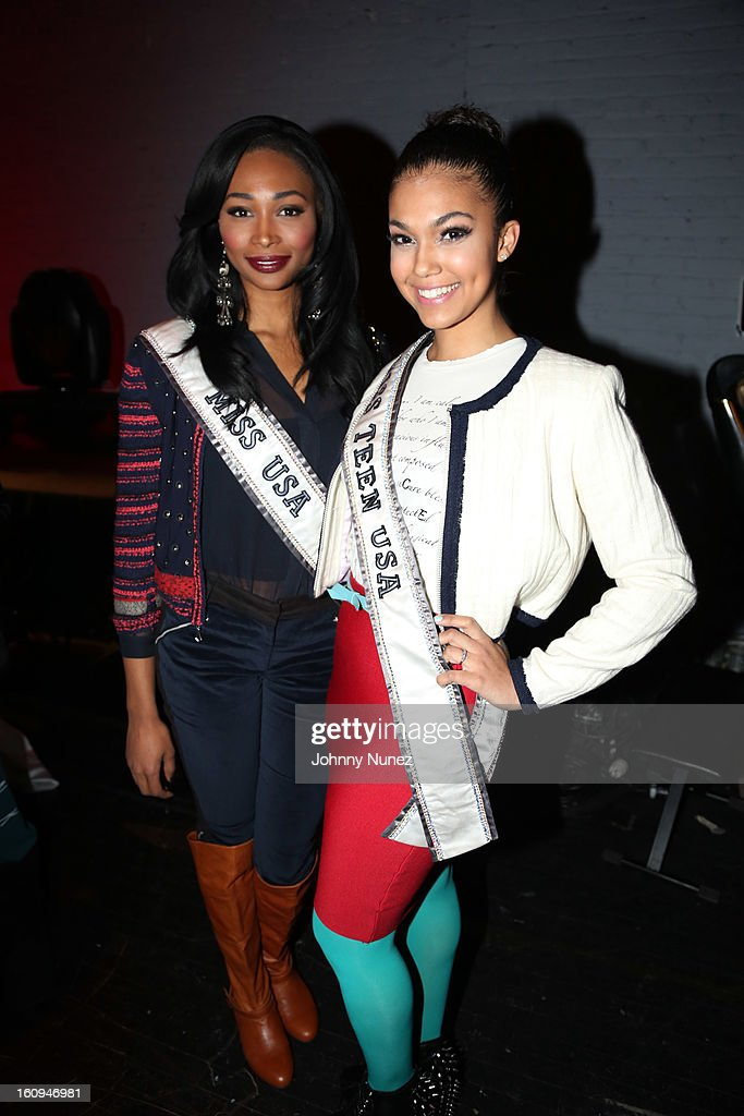 Miss USA Nana Meriwether and Miss Teen USA Logan West attend Harlem's Fashion Row Presentation during Fall 2013 Mercedes-Benz Fashion Week at The Apollo Theater on February 7, 2013 in New York City.