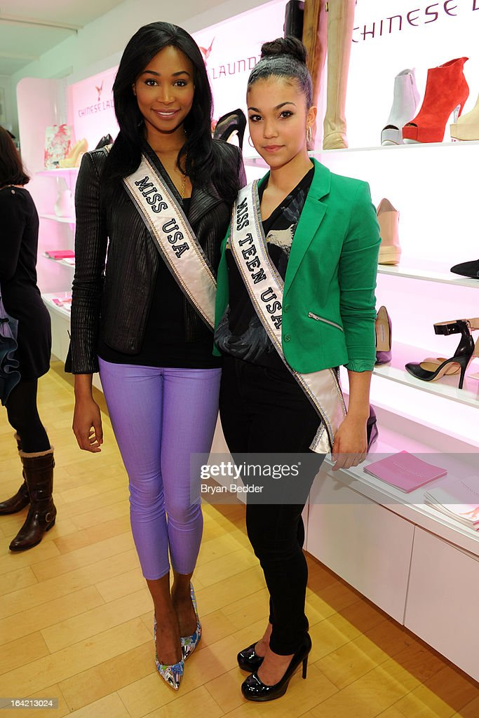 Miss USA Nana Meriwether and Miss Teen USA Logan West attend the Chinese Laundry Fall 2013 Preview on March 20, 2013 in New York City.