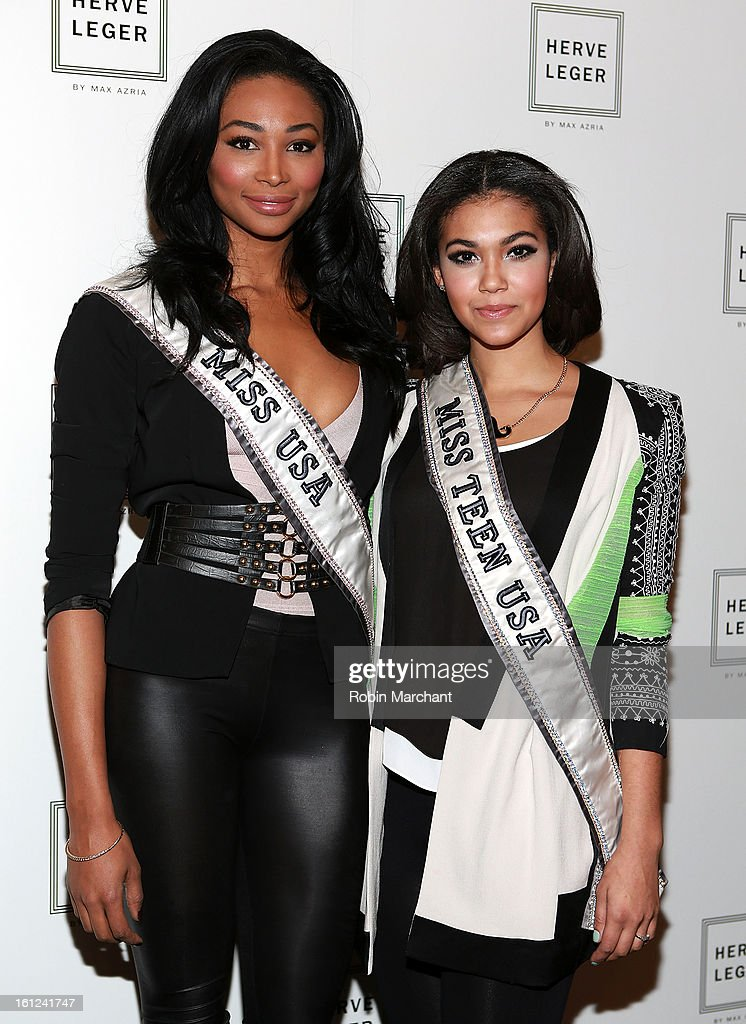 Miss USA Nana Meriwether and Miss Teen USA Logan West attends Herve Leger By Max Azria during Fall 2013 Mercedes-Benz Fashion Week at The Theatre at Lincoln Center on February 9, 2013 in New York City.