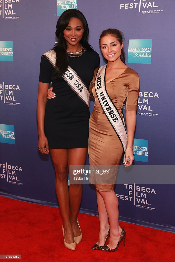 Miss USA Nana Meriwether and Miss Universe Olivia Culpo attend the screening of 'Battle of amfAR' & Beyond The Screens: The Artist's Angle during the 2013 Tribeca Film Festival at SVA Theater on April 24, 2013 in New York City.
