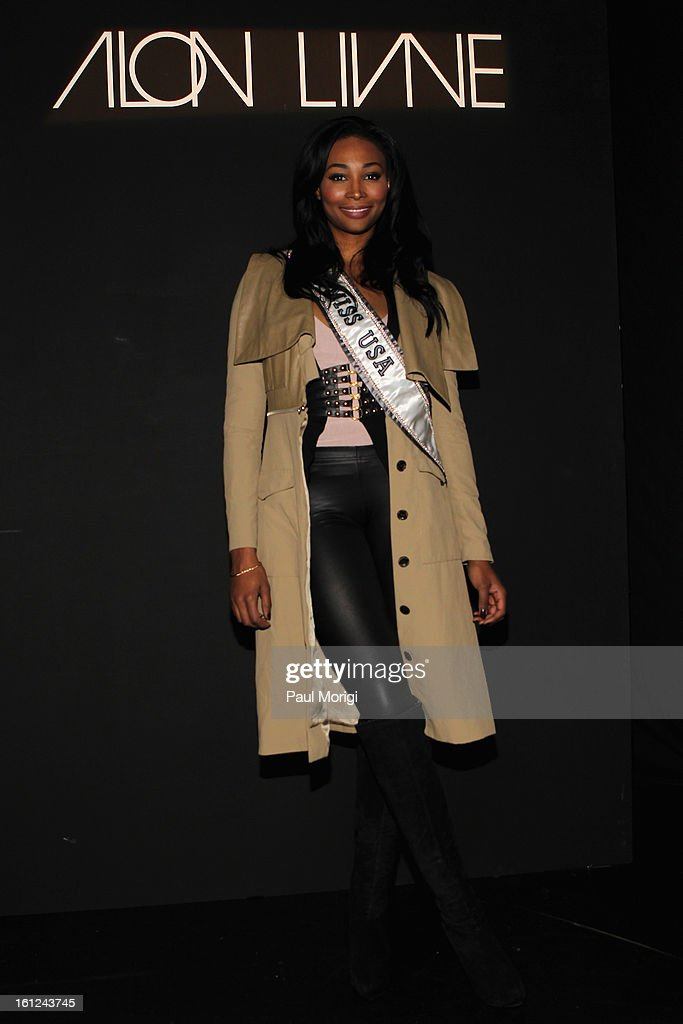 Miss USA Nana Meriwether at the Alon Livne Fall 2013 fashion show during Mercedes-Benz Fashion Week at The Box at Lincoln Center on February 9, 2013 in New York City.