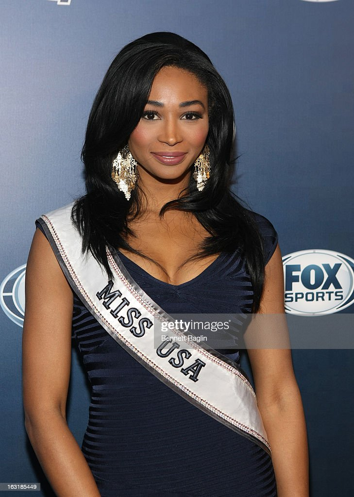 Miss USA Nana Meriwether attends the 2013 Fox Sports Media Group Upfront after party at Roseland Ballroom on March 5, 2013 in New York City.