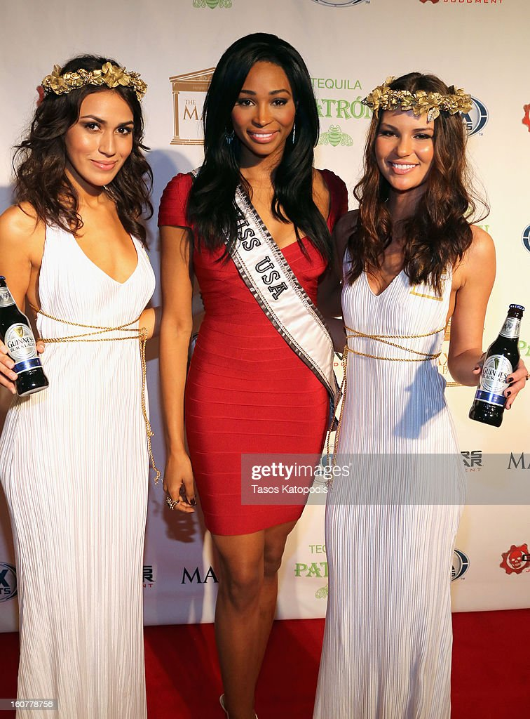 Miss USA Nana Meriwether attends The Maxim Party With 'Gears of War: Judgment' For XBOX 360, FOX Sports & Starter Presented by Patron Tequila at Second Line Warehouse on February 1, 2013 in New Orleans, Louisiana.