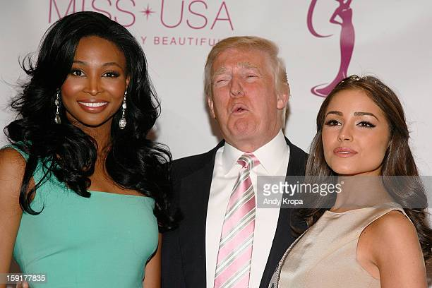 Miss USA Nana Meriwether Donald Trump and Miss Universe Olivia Culpo attend the crowning ceremony of the new Miss USA at Trump Tower on January 9...