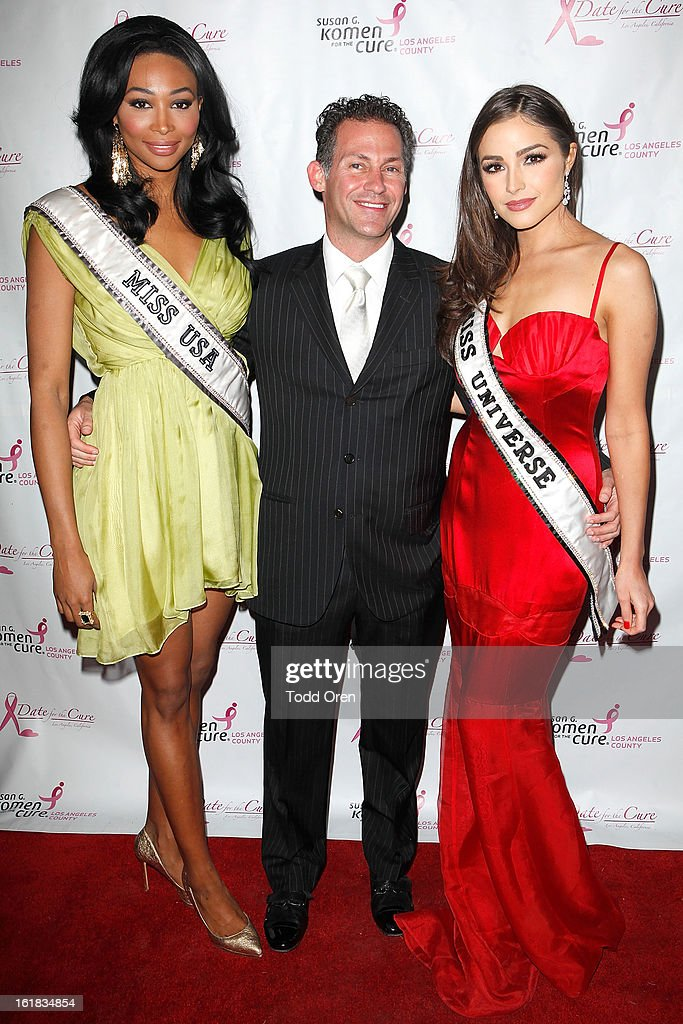 Miss USA Nana Meriwether, Gavin Keilly and Miss Universe Olivia Culpo poses at the Date for the Cure To Benefit Susan G. Komen For The Cure on February 16, 2013 in Universal City, California.