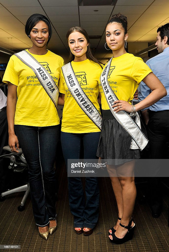 Miss USA <a gi-track='captionPersonalityLinkClicked' href=/galleries/search?phrase=Nana+Meriwether&family=editorial&specificpeople=4594046 ng-click='$event.stopPropagation()'>Nana Meriwether</a>, Miss Universe <a gi-track='captionPersonalityLinkClicked' href=/galleries/search?phrase=Olivia+Culpo&family=editorial&specificpeople=9194131 ng-click='$event.stopPropagation()'>Olivia Culpo</a> and Miss Teen USA Logan West attend the 2013 Commissions For Charity Day at BTIG on May 14, 2013 in New York City.