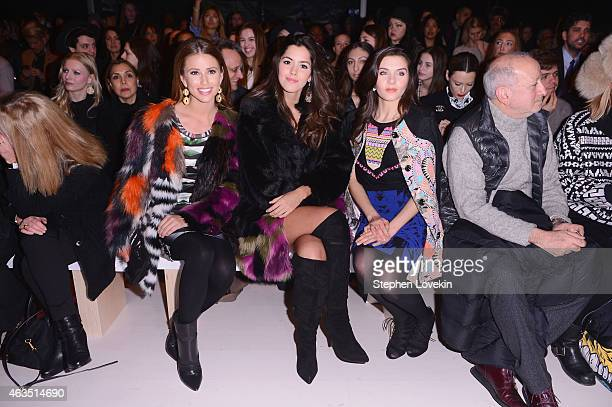 Miss USA Nia Sanchez Miss Universe Paulina Vega and Miss Teen USA K Lee Graham attend the Custo Barcelona fashion show during MercedesBenz Fashion...