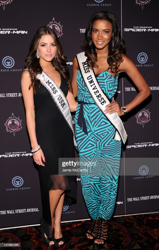 Miss USA Olivia Culpo and Miss Universe Leila Lopes attend 'The Amazing SpiderMan' New York Special Screening at Regal Union Square Theatre Stadium...