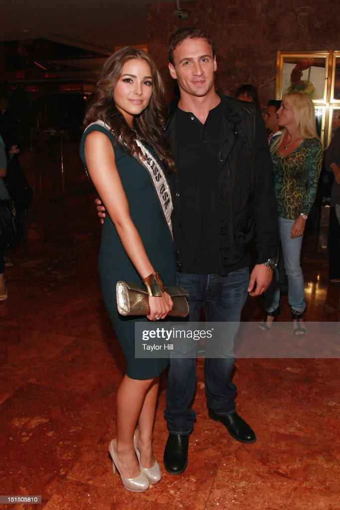 Miss USA Olivia Culpo and swimmer <a gi-track='captionPersonalityLinkClicked' href=/galleries/search?phrase=Ryan+Lochte&family=editorial&specificpeople=182557 ng-click='$event.stopPropagation()'>Ryan Lochte</a> attend the Evening Sherri Hill spring 2013 fashion show during Mercedes-Benz Fashion Week at Trump Tower Grand Corridor on September 7, 2012 in New York City.
