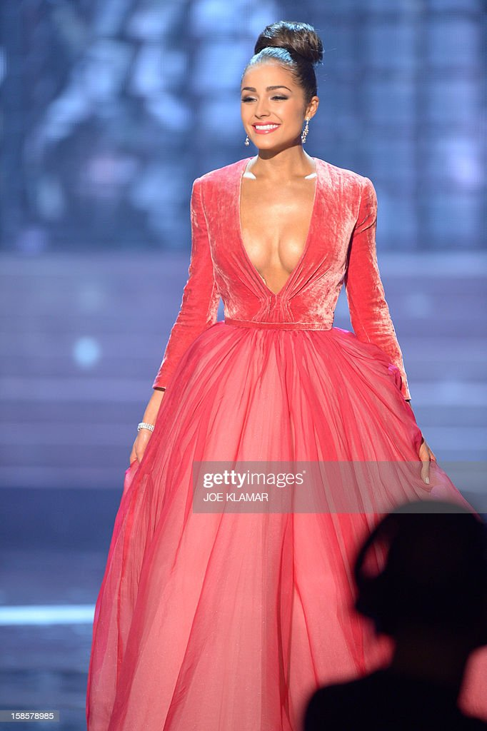 Miss USA, Olivia Culpo, appears on stage during the Miss Universe Pageant at Planet Hollywood in Las Vegas, Nevada on December 19, 2012. Olivia Culpo was crowned Miss Universe 2012, beating out beauties from around the world to claim the coveted title. The title of first runner-up title went to the contestant from the Philippines, Janine Tugonon.