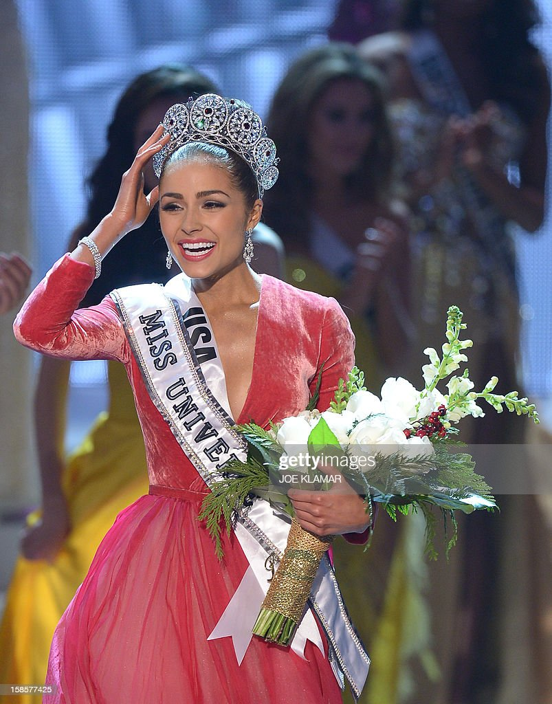 Miss USA, Olivia Culpo walks on stage after being crowned Miss Universe 2012 during the Miss Universe Pageant at Planet Hollywood in Las Vegas, Nevada on December 19, 2012. Eighty-nine countries and territories took part in in this year's pageant.