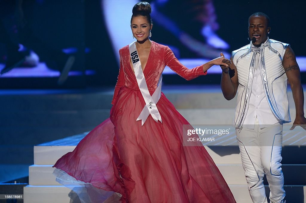 Miss USA, Olivia Culpo, walks on stage during the Miss Universe Pageant at Planet Hollywood in Las Vegas, Nevada on December 19, 2012. Olivia Culpo was crowned Miss Universe 2012, beating out beauties from around the world to claim the coveted title. The title of first runner-up title went to the contestant from the Philippines, Janine Tugonon. AFP PHOTO / JOE KLAMAR