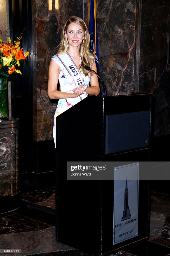 Miss USA Olivia Jordan appears to light The Empire State Building at The Empire State Building on May 6, 2016 in New York City.