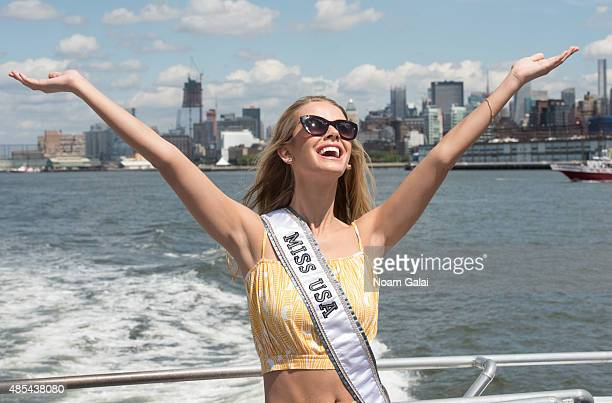 Miss USA Olivia Jordan attends a CitySightseeing cruise to the Statue of Liberty on August 27 2015 in New York City