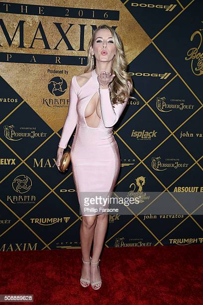 Miss USA Olivia Jordan attends Maxim Magazine and Bootsy Bellows Super Bowl Party 2016 at Treasure Island on February 6 2016 in San Francisco...