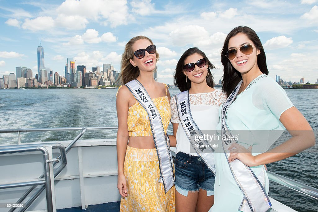 Miss USA Olivia Jordan, Miss Teen USA Katherine Haik and Miss Universe Paulina Vega attend a CitySightseeing cruise to the Statue of Liberty on August 27, 2015 in New York City.