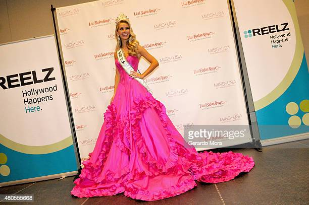 Miss USA Olivia Jordan of Oklahoma poses during the 2015 Miss USA Pageant Only On ReelzChannel Press Conference at The Baton Rouge River Center on...