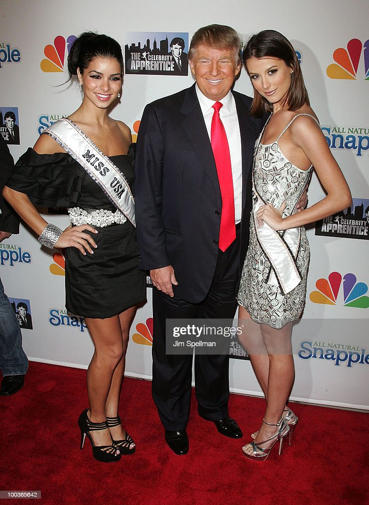 Miss USA Rima Fakih, Donald Trump and Miss Universe Stefania Fernandez attends 'The Celebrity Apprentice' Season 3 finale after party at the Trump SoHo on May 23, 2010 in New York City.