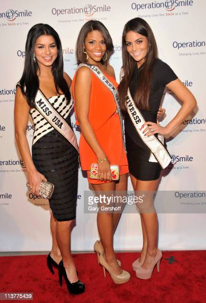 Miss USA Rima Fakih Miss Teen USA Kamie Crawford and Miss Universe Ximena Navarrete attend Operation Smile as they honor Santo Versace at The 2011...