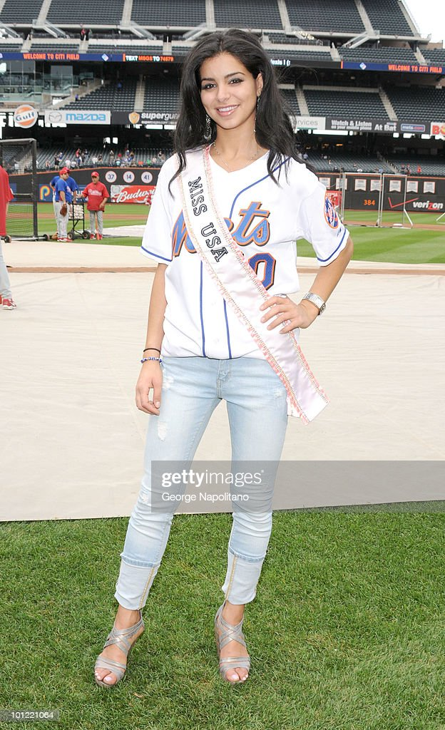 Miss USA Rima Fakih visits Citi Field on May 27, 2010 in the Queens Borough of New York City.
